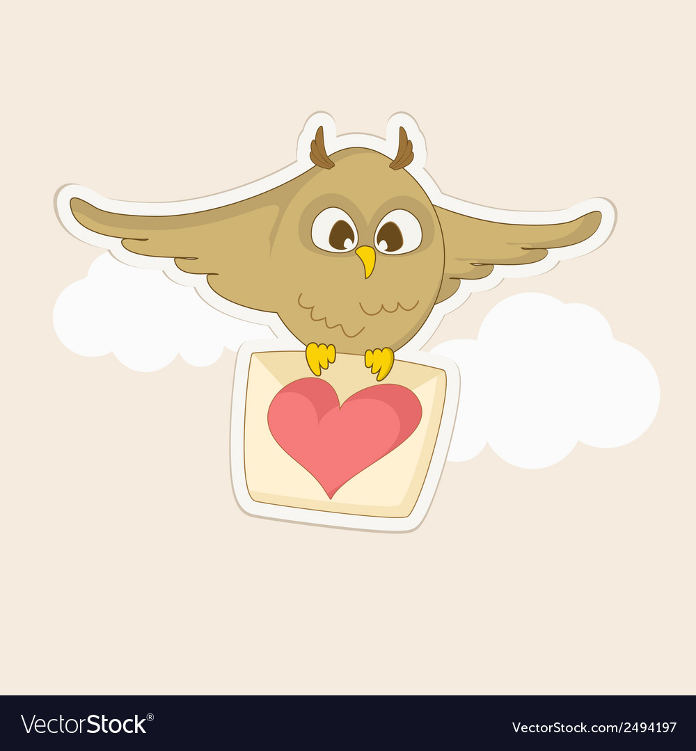 Owl with a letter vector | Price: 1 Credit (USD $1)