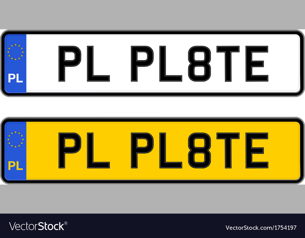 Poland number plate vector | Price: 1 Credit (USD $1)