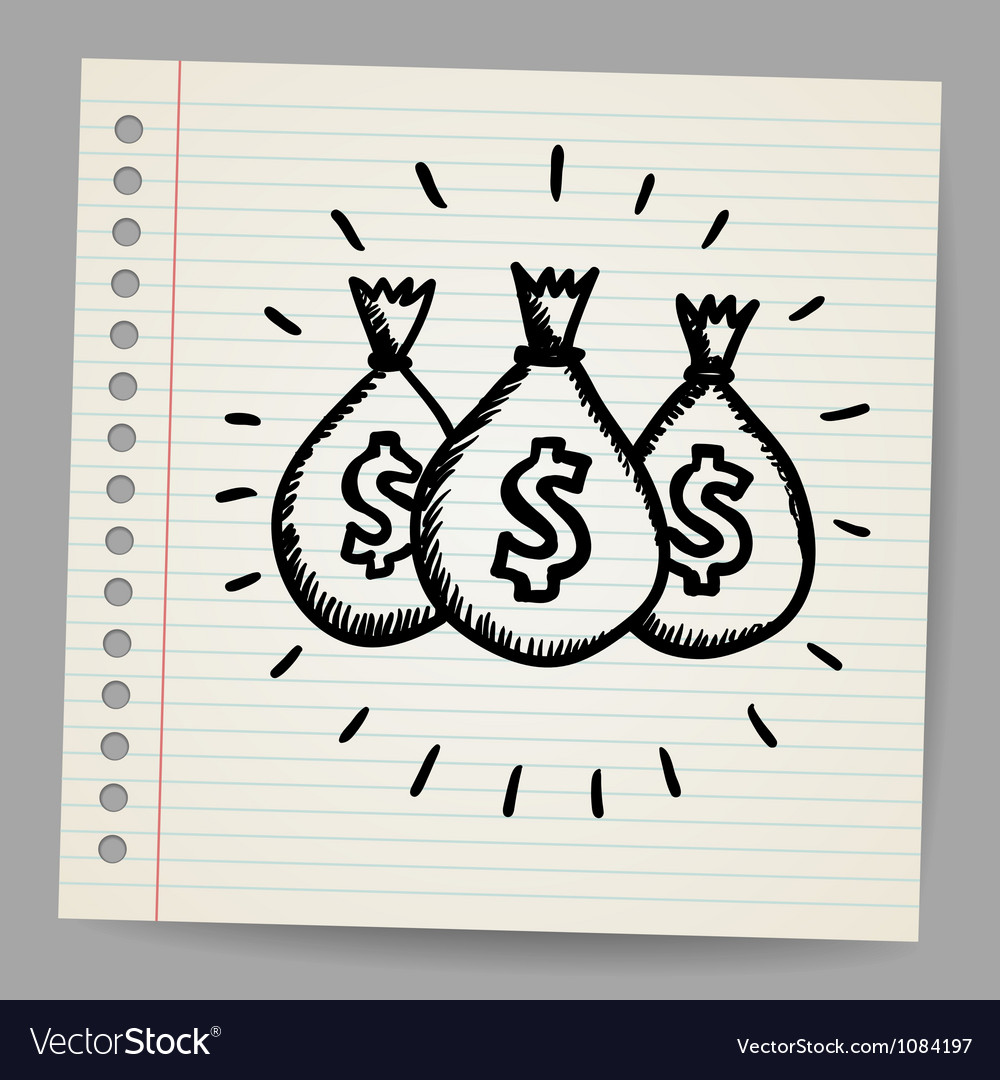 Scribble money bags vector | Price: 1 Credit (USD $1)