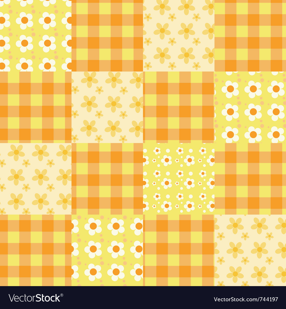 Seamless patchwork pattern orange vector | Price: 1 Credit (USD $1)