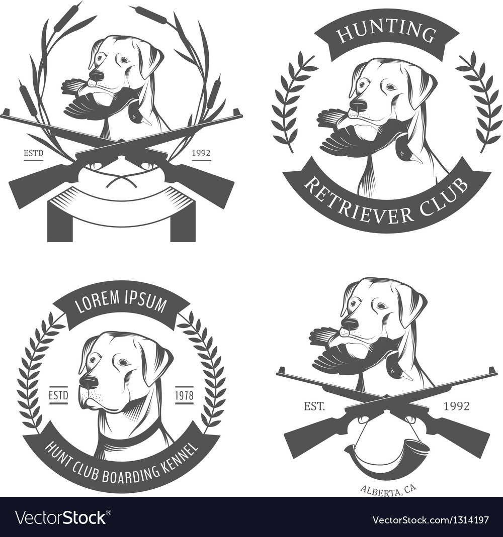 Set of hunting retriever logos labels and badges vector | Price: 1 Credit (USD $1)