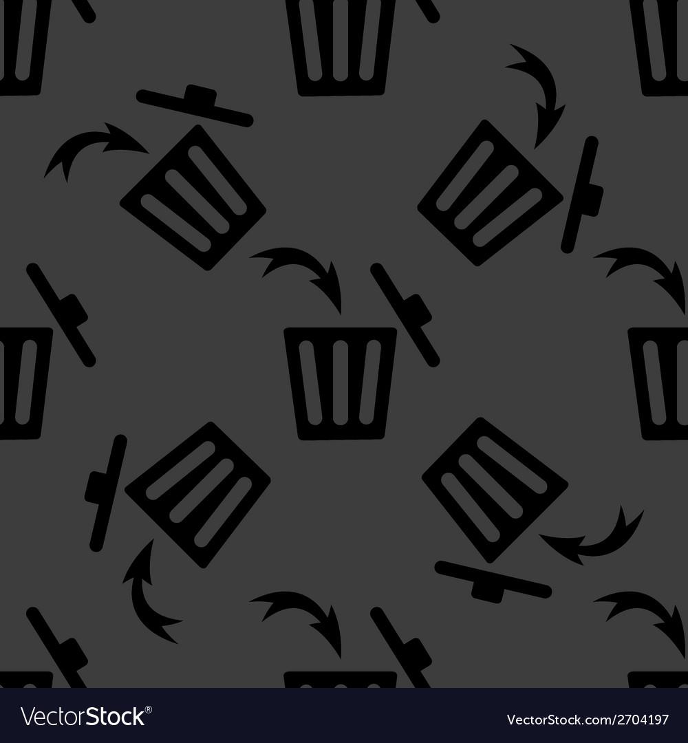 Trash bin web icon flat design seamless gray vector   Price: 1 Credit (USD $1)