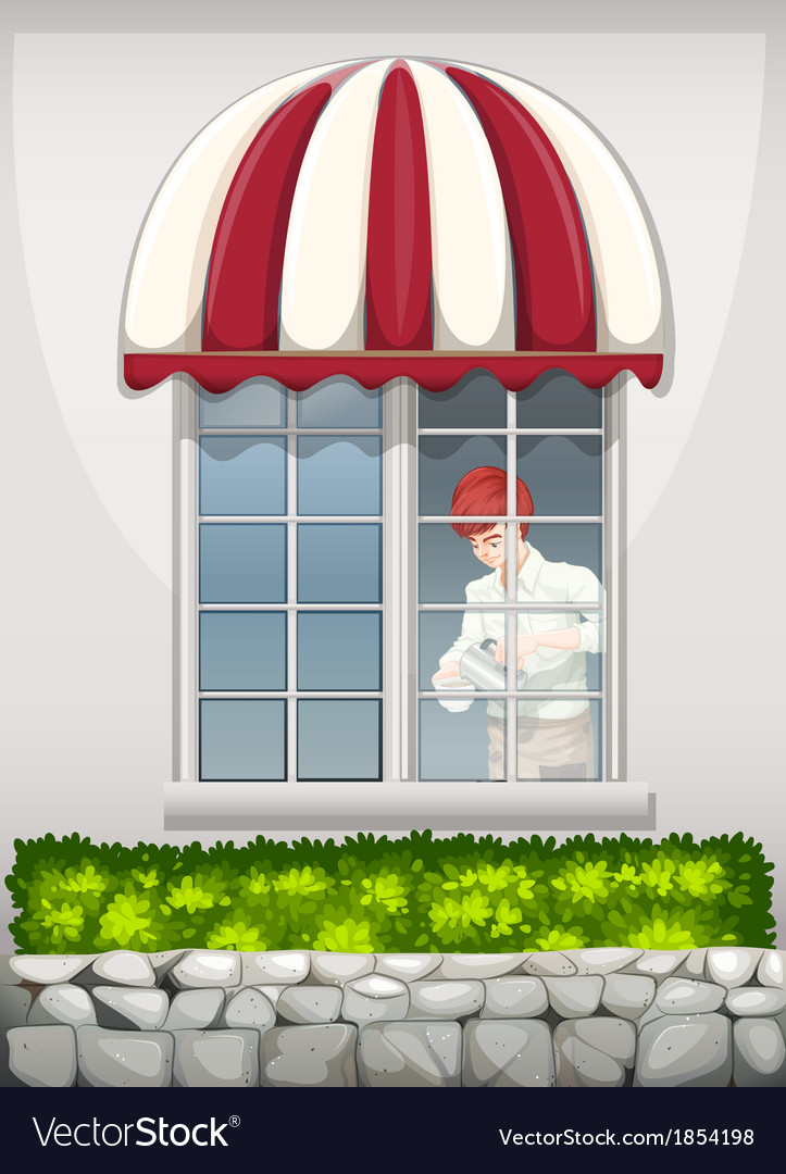 A waiter near the window vector | Price: 1 Credit (USD $1)