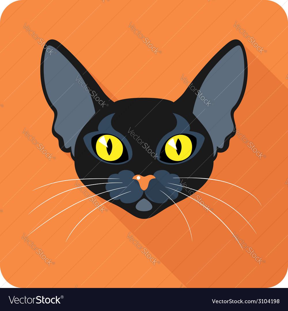 Bombay black cat icon flat design vector   Price: 1 Credit (USD $1)