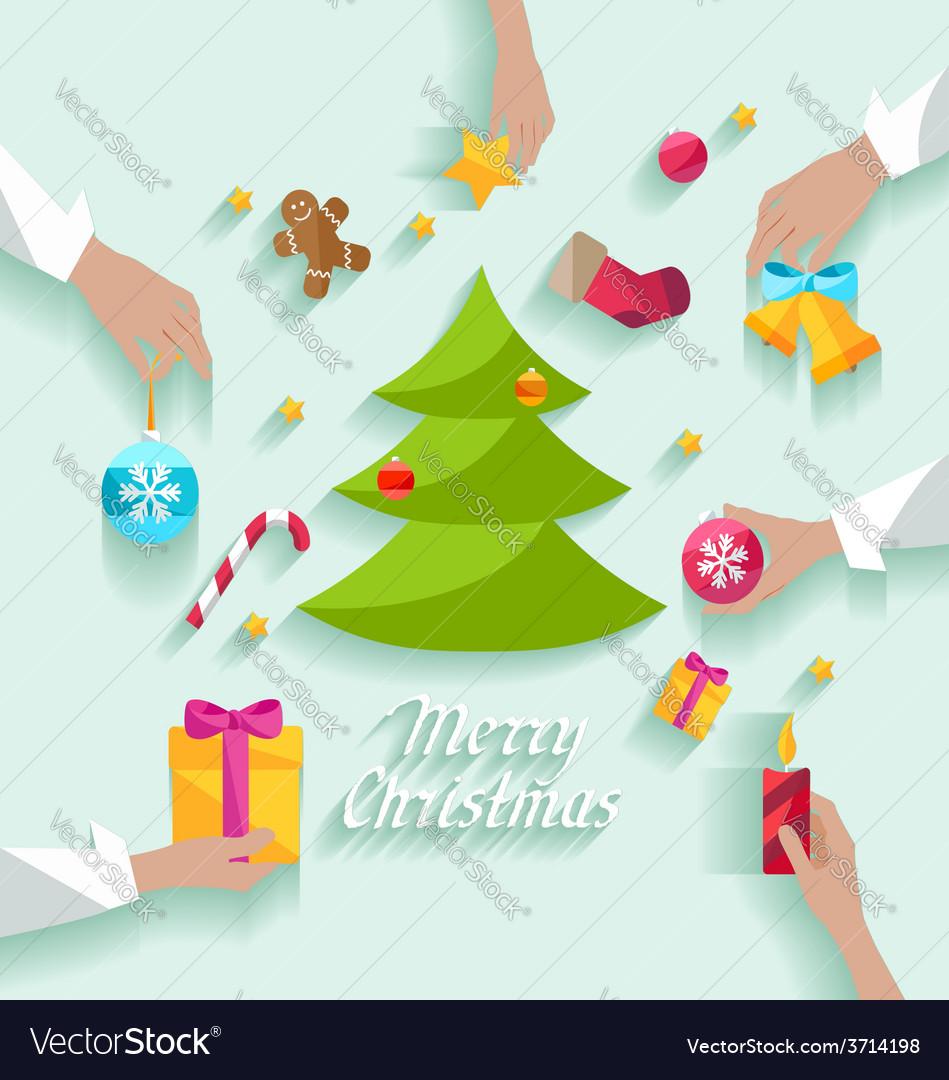 Decorating christmas tree vector | Price: 1 Credit (USD $1)