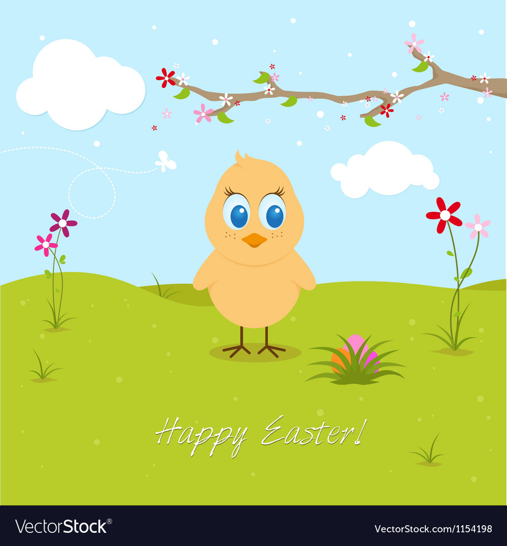 Easter chicken searching eggs vector | Price: 1 Credit (USD $1)