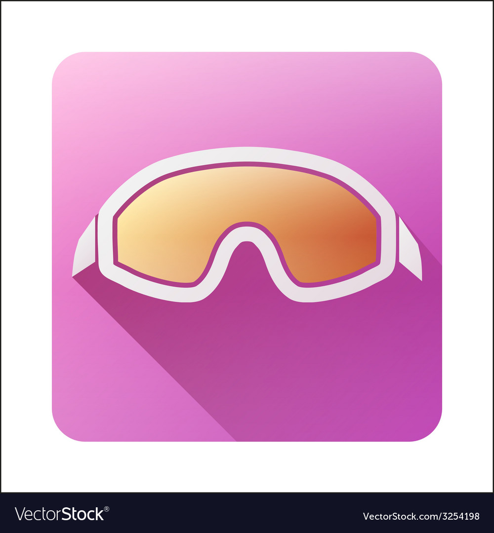 Flat icon with classic old school snowboard ski vector | Price: 1 Credit (USD $1)