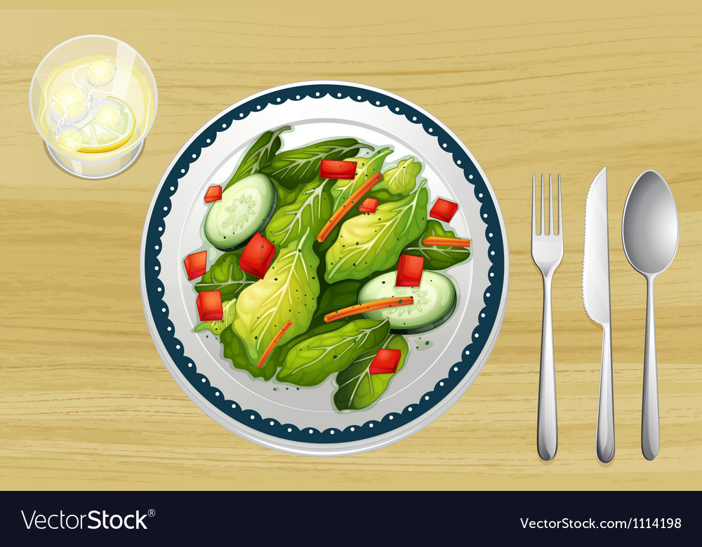Garnished salad on a wooden table vector | Price: 1 Credit (USD $1)
