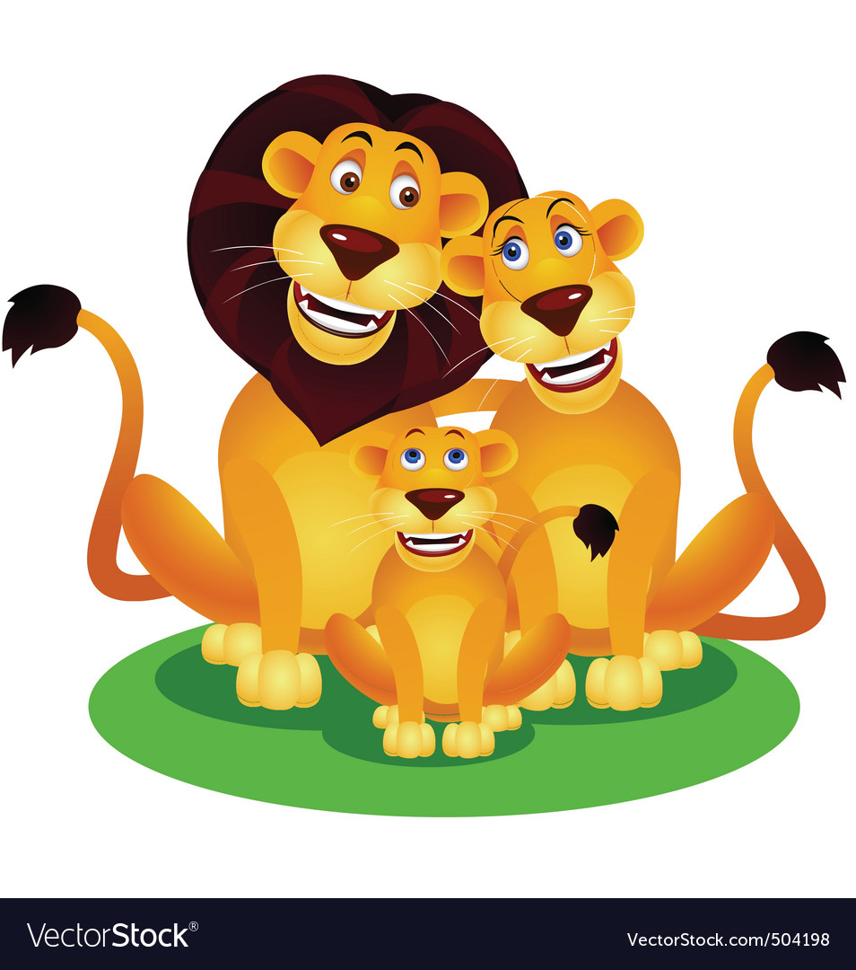 Lion family vector | Price: 3 Credit (USD $3)