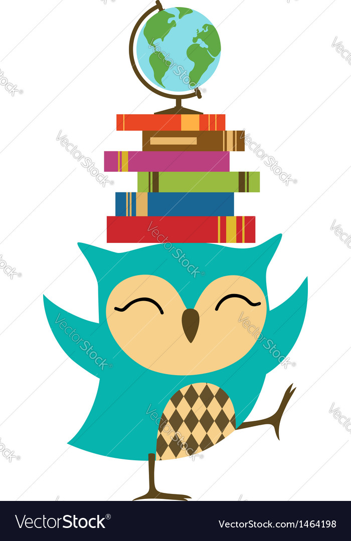 Owl with stack of books vector | Price: 1 Credit (USD $1)