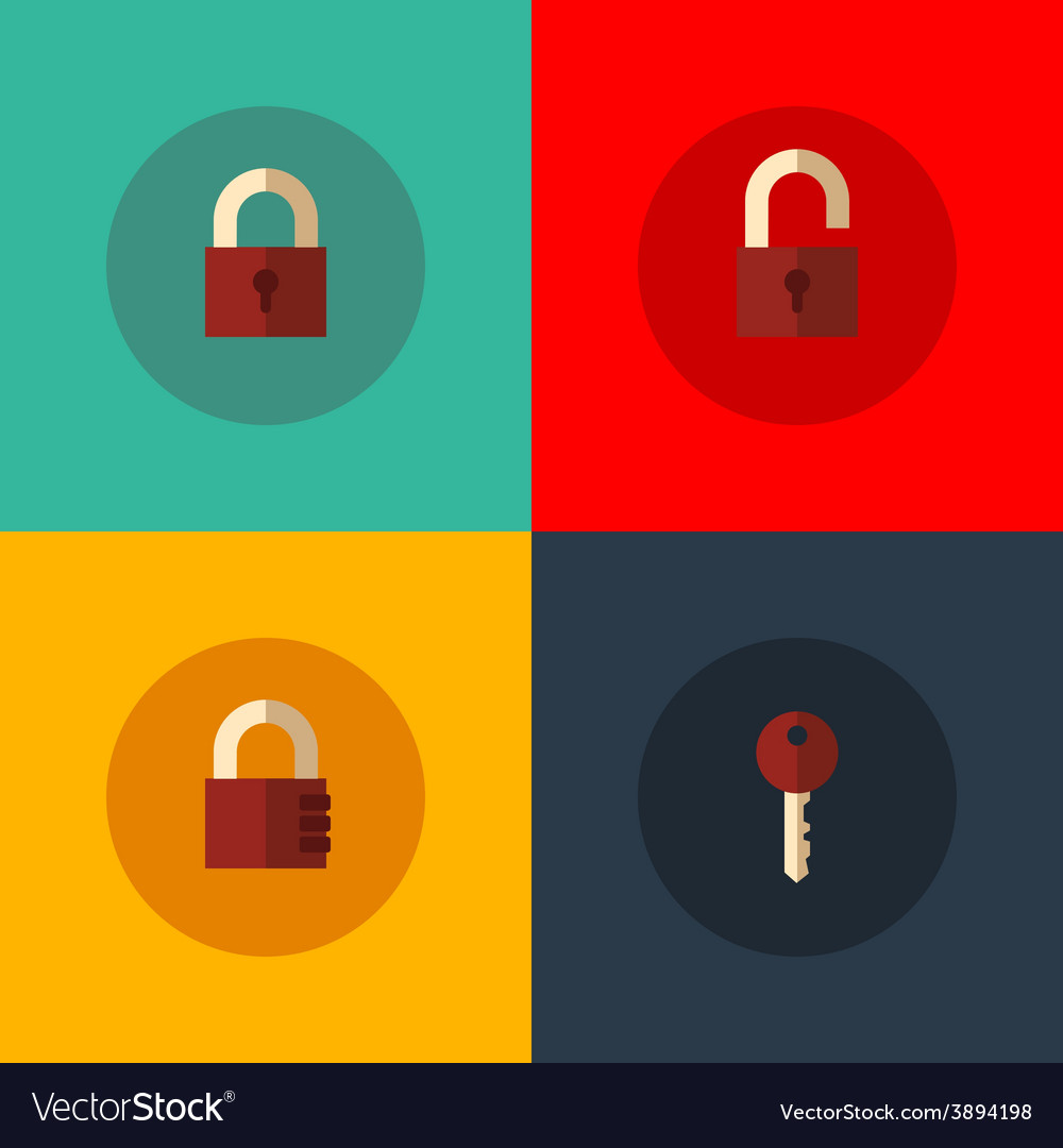 Set of lock icons vector | Price: 1 Credit (USD $1)