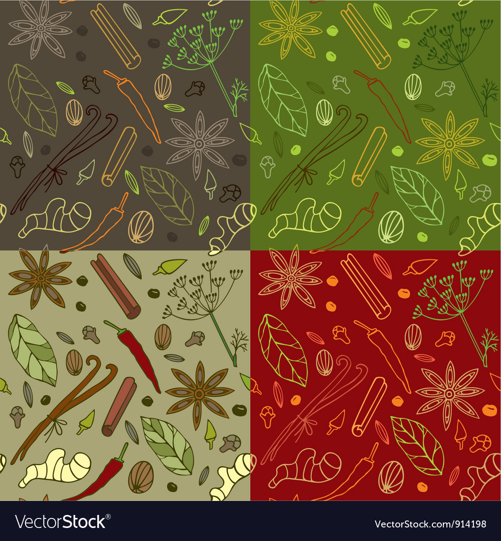 Spices kitchen pattern vector | Price: 1 Credit (USD $1)