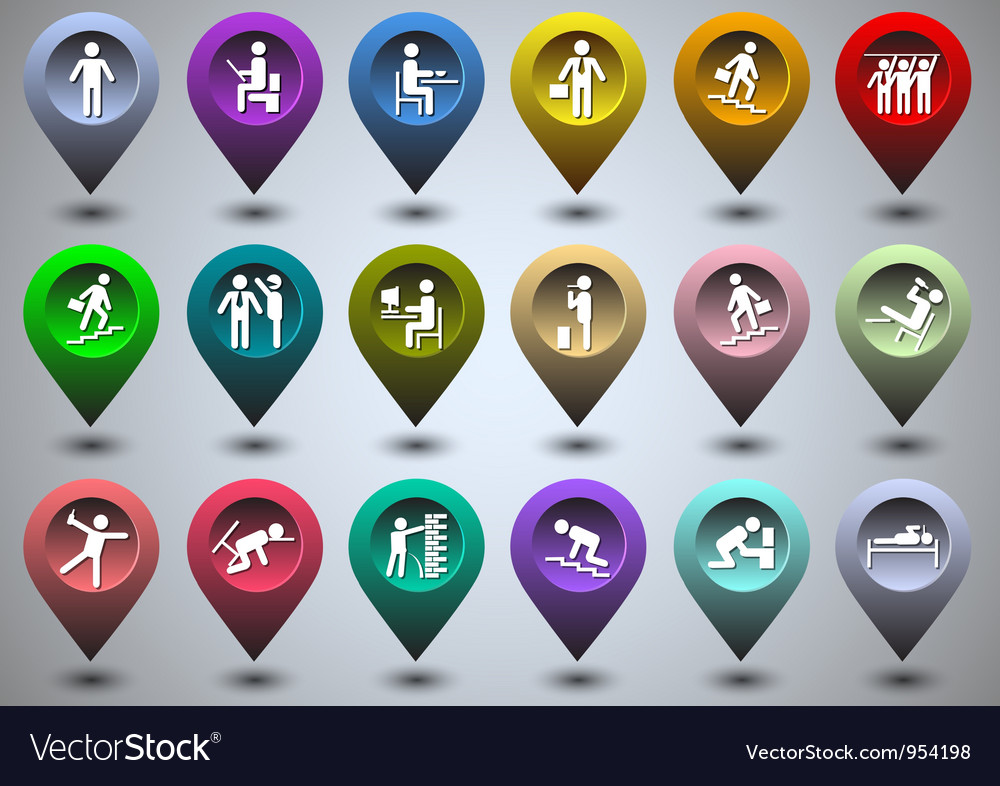 Symbolic life form of colorful gps icons vector | Price: 1 Credit (USD $1)