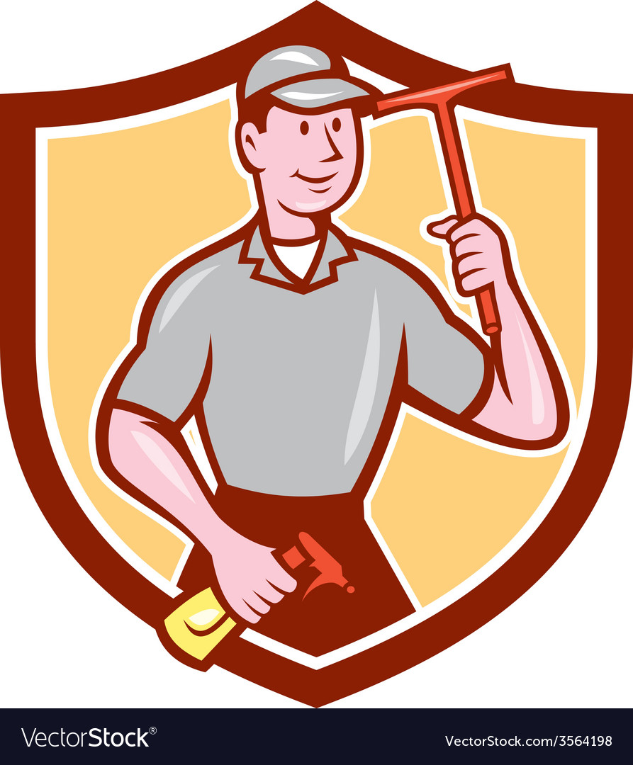 Window washer cleaner squeegee shield cartoon vector | Price: 1 Credit (USD $1)