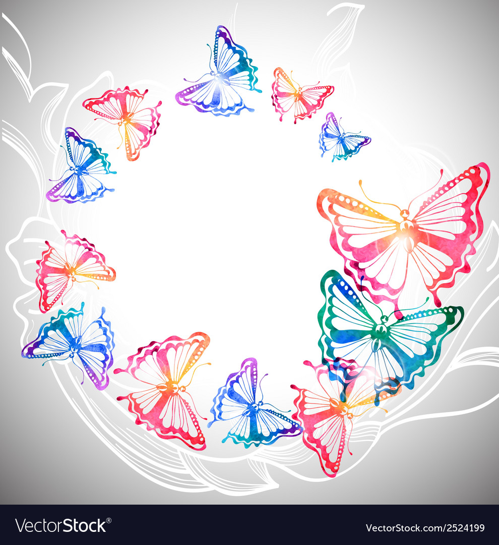 Colorful background with watercolor butterflies vector | Price: 1 Credit (USD $1)