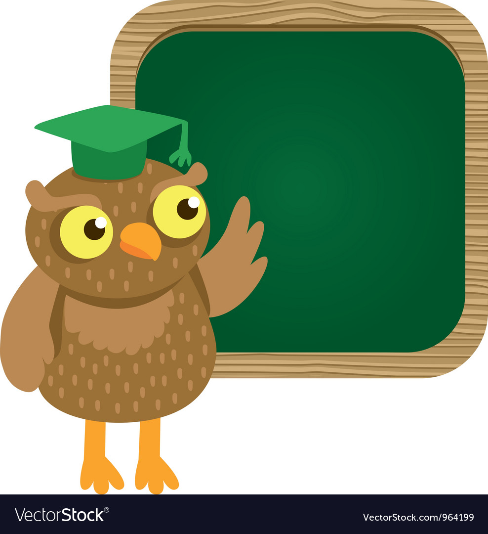 Cute owl with school board vector | Price: 1 Credit (USD $1)