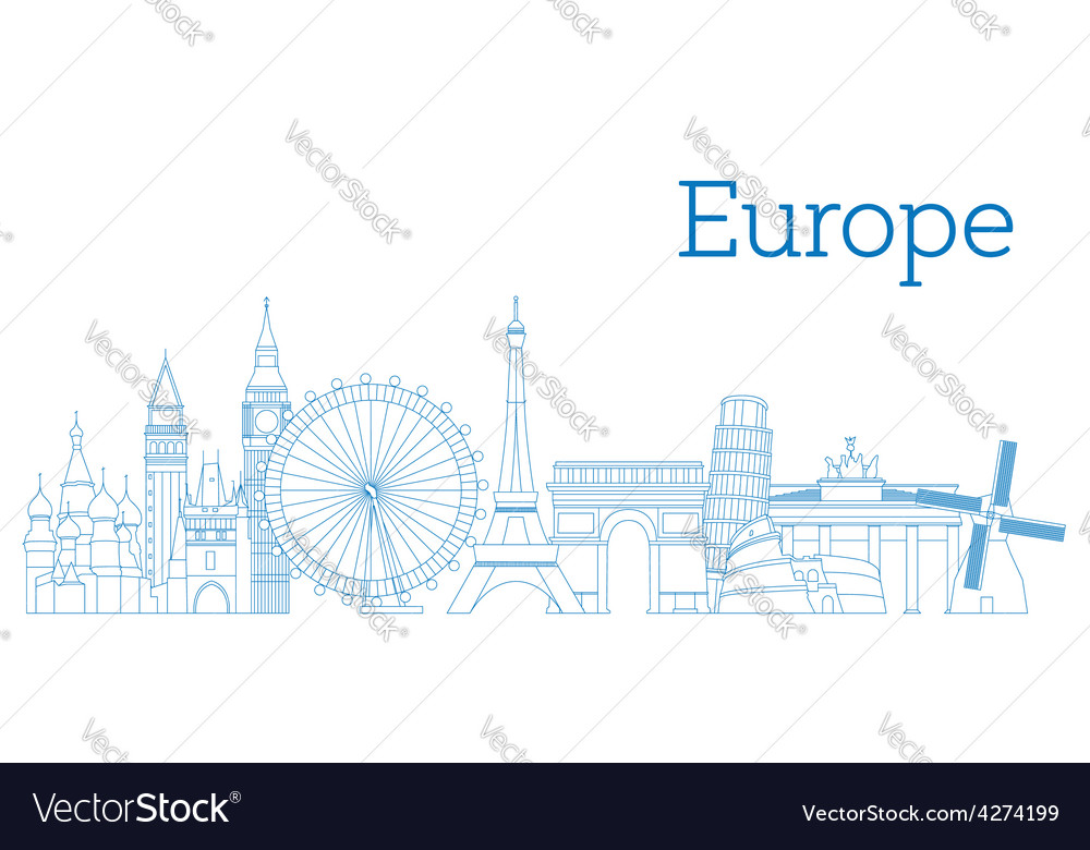 Europe skyline vector | Price: 1 Credit (USD $1)