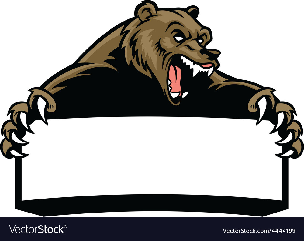 Grizzly bear hold the blank sign vector | Price: 3 Credit (USD $3)