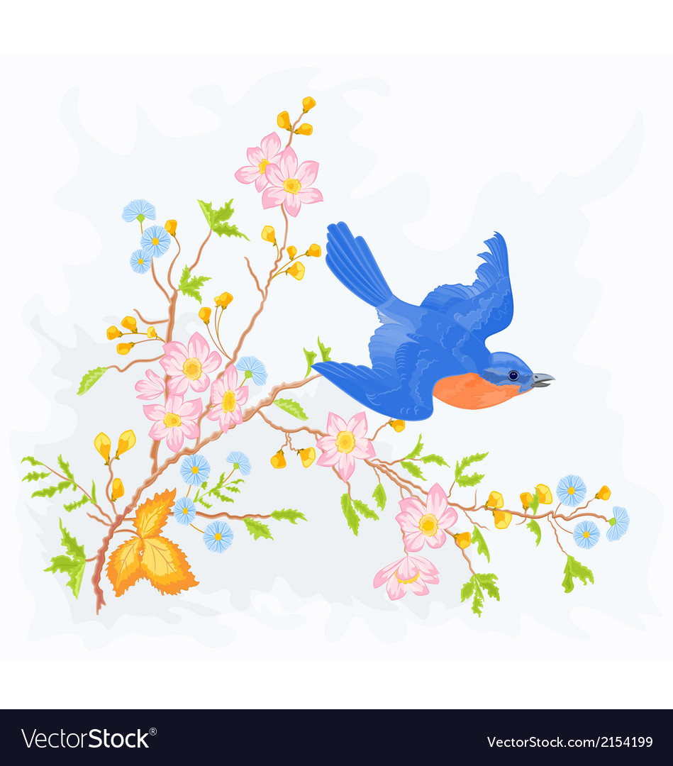 Little bird in flight in a flower bush vector | Price: 1 Credit (USD $1)