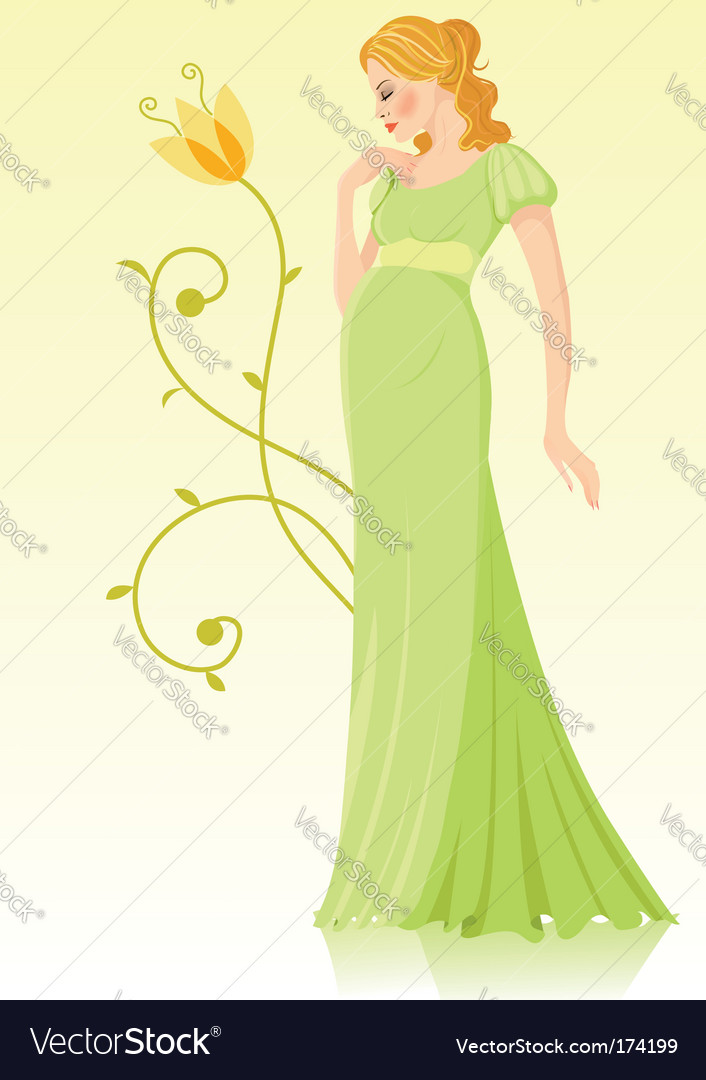 Pregnant young woman vector | Price: 3 Credit (USD $3)