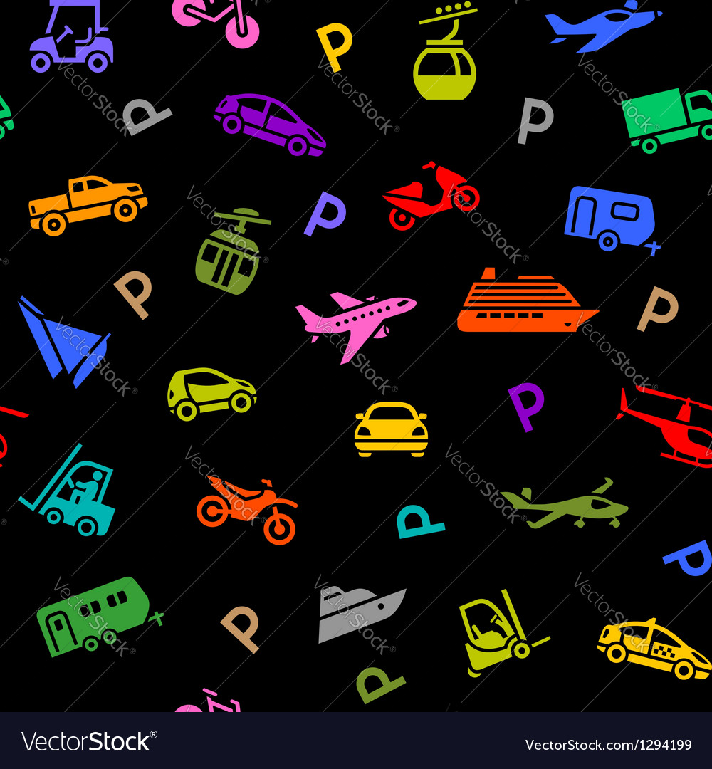Seamless backdrop transport colored icons vector | Price: 1 Credit (USD $1)