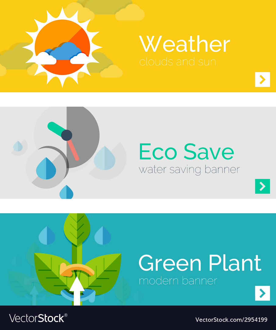 Set of eco nature flat design concepts banners vector   Price: 1 Credit (USD $1)