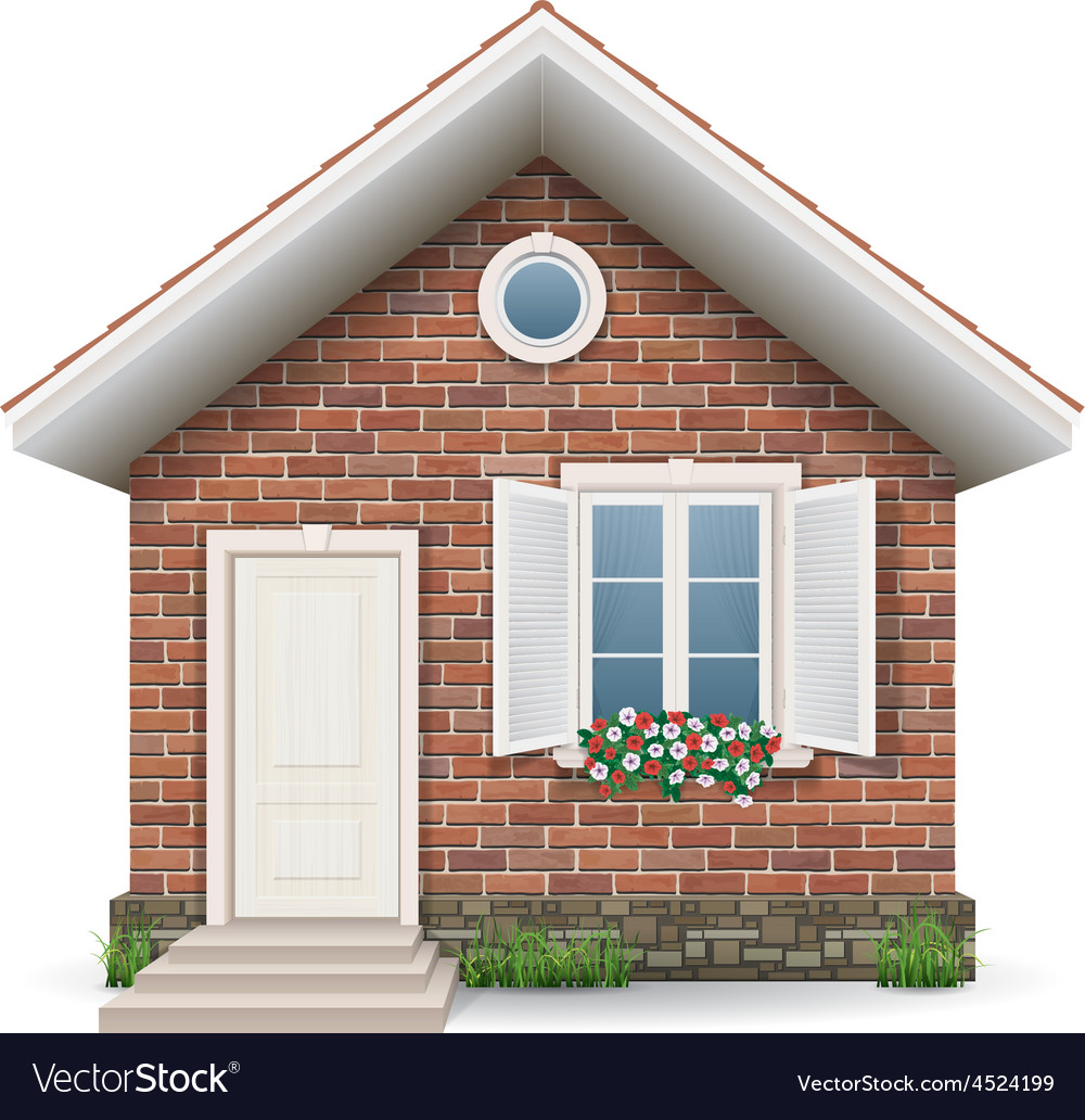 Small brick residential house vector | Price: 5 Credit (USD $5)