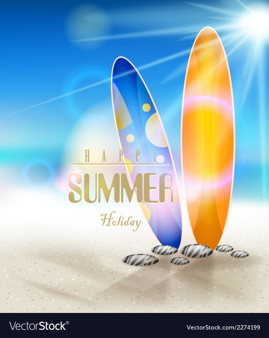 Summer holidays background with surfboards vector | Price: 3 Credit (USD $3)