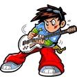 Anime manga guitar player vector