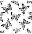 Outline flying butterflies seamless pattern vector
