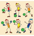 Little toy men playing football vector