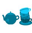 Floral tea set vector