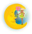 Fairy sleeping moon vector