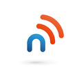 Letter n wireless logo icon design template vector