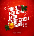 Bright christmas and new 2015 year card red vector