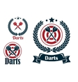 Three different darts emblems or badges vector