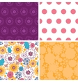 Colorful oriental flowers set of four vector