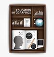 Creative infographics education shelf book box con vector