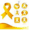 Yellow awareness ribbons kit vector