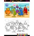 Funny aliens cartoon coloring book vector