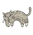 Art cat with floral ornament for your design vector