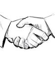 Business hand shake between two people vector