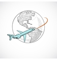 Aircraft icons globe vector