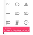 Black car dashboard icon set vector