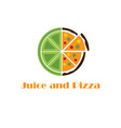 Juice and pizza concept vector