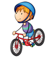 A boy riding on a bicycle vector