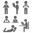 Read book people flat icons isolated on white vector
