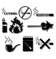 Smoking icons in black color vector