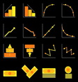 Graph and money color icons on black background vector