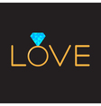 Wedding gold ring with blue diamond word love vector